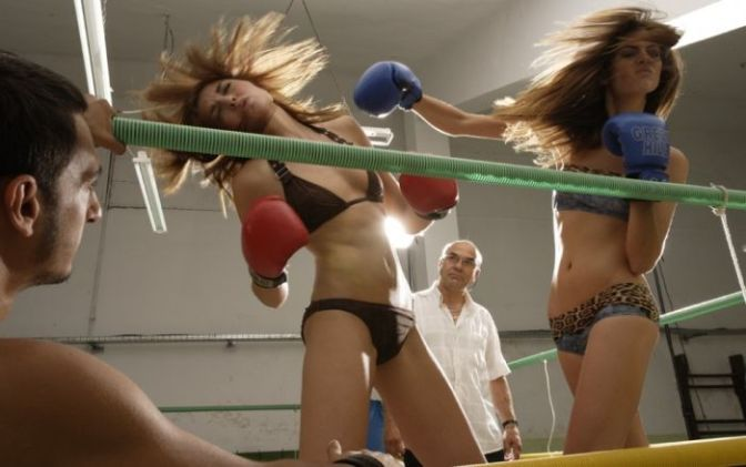 Two women fight over a tuna taco